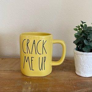Rae Dunn CRACK ME UP yellow mug